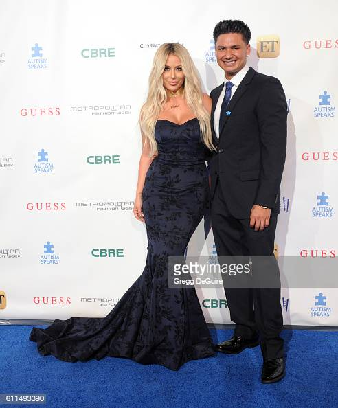 Aubrey O'Day and Pauly D arrive at the Metropolitan Fashion Week 2016 La Vie En Bleu Signature Event Benefiting Autism Speaks at Warner Bros Studios...