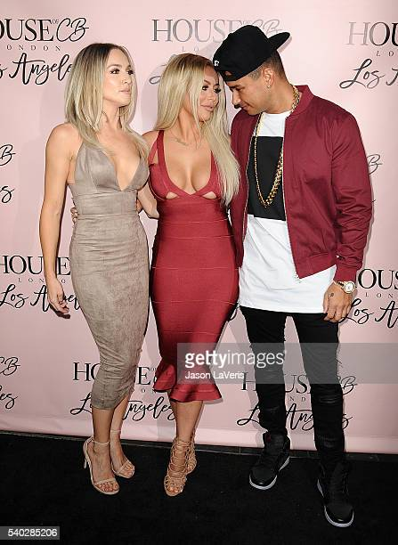 Aubrey O'Day and Shannon Bex of Dumblonde and DJ Pauly D attend the House of CB flagship store launch at House Of CB on June 14 2016 in West...