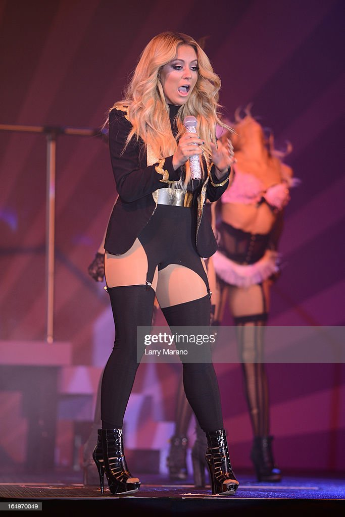 Aubrey O'Day appears In The Knockouts Burlesque Show at Seminole Casino Coconut Creek on March 29, 2013 in Coconut Creek, Florida.