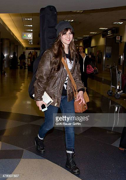 Aubrey Peeples is seen at LAX airport on March 12 2014 in Los Angeles California