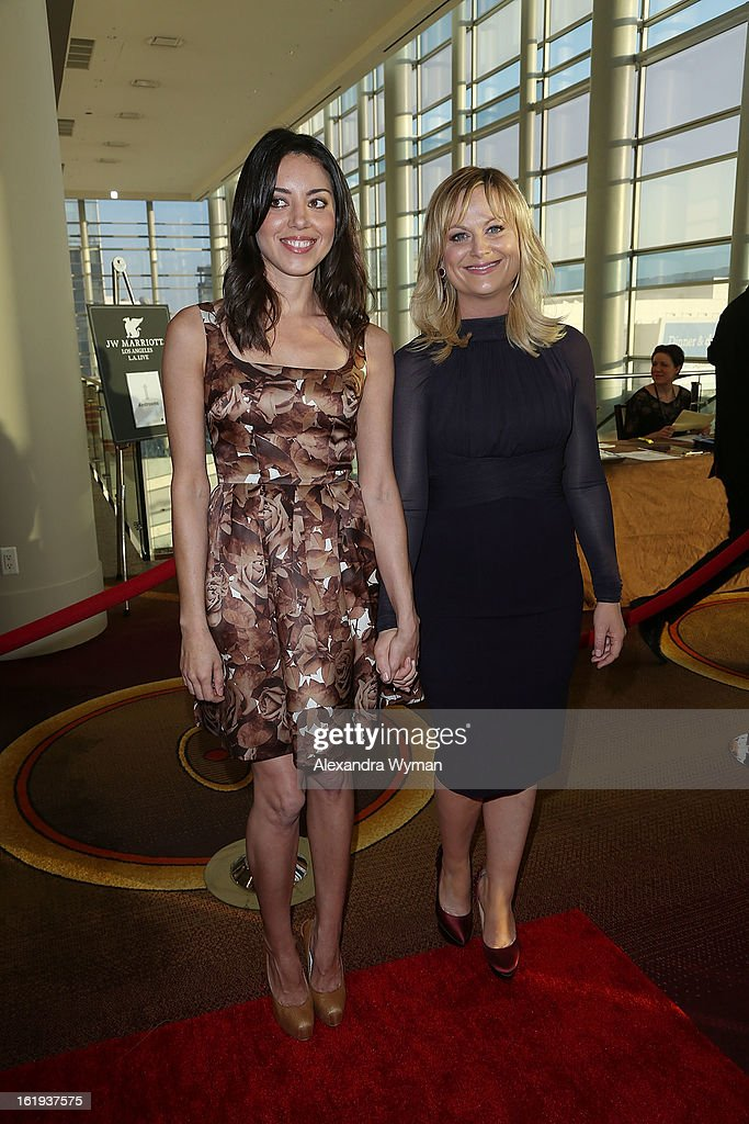 Aubrey Plaza and Amy Poehler at The 2013 Writers Guild Awards Arrivals held at The JW Marriott Los Angeles at L.A. LIVE on February 17, 2013 in Los Angeles, California.