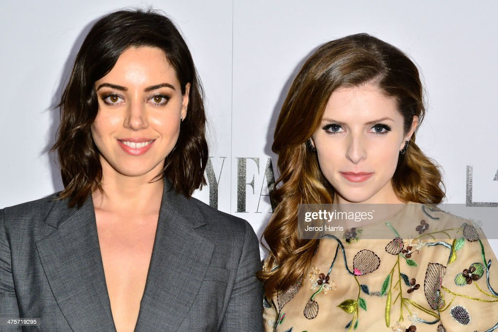 Aubrey Plaza and Anna Kendrick attend the Vanity Fair Campaign Hollywood Kick Off at Sadie Kitchen and Lounge on February 28 2014 in Los Angeles...