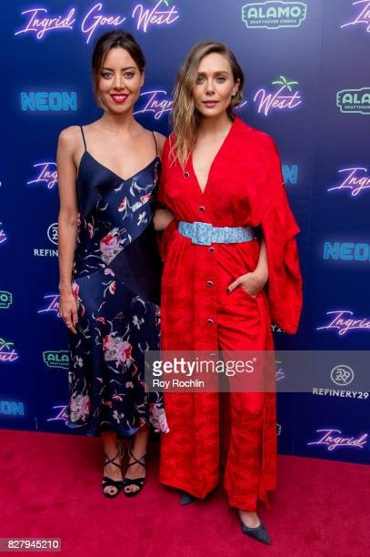 Aubrey Plaza and Elizabeth Olsen attend The New York premiere of 'Ingrid Goes West' hosted by Neon at Alamo Drafthouse Cinema on August 8 2017 in the...