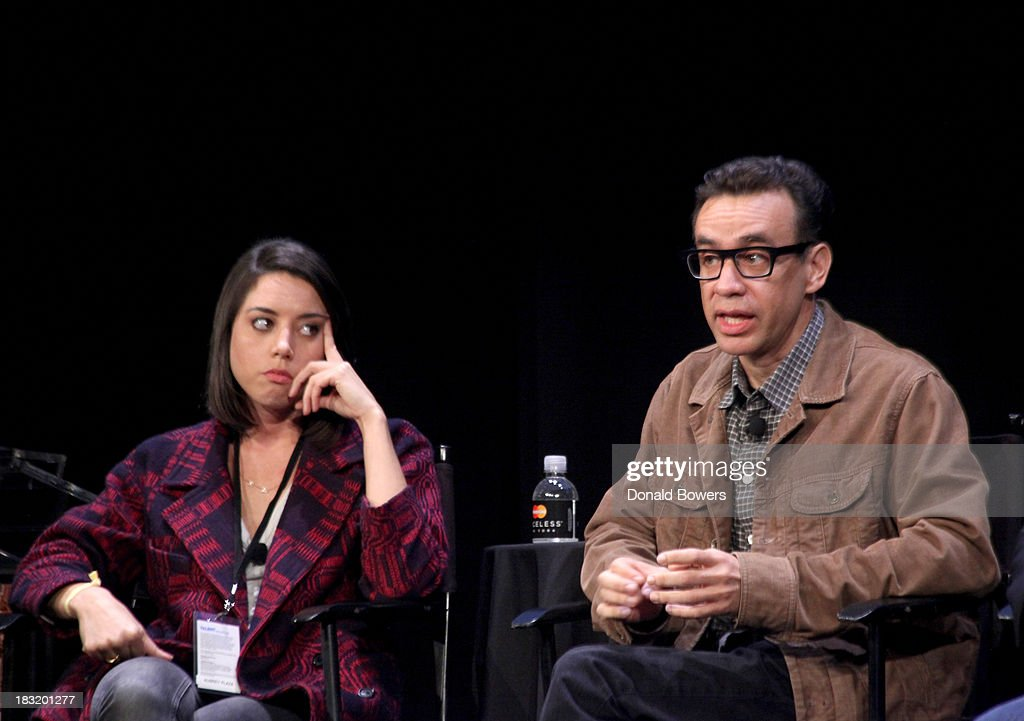Aubrey Plaza and Fred Armisen attend The New Yorker Festival 2013 - An Evening With Funny Or Die Hosted By Billy Eichner at Acura at SIR Stage37 on October 5, 2013 in New York City.