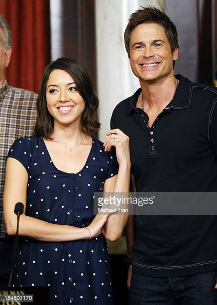 Aubrey Plaza and Rob Lowe attend the 'Parks And Recreation' 100th episode celebration held at CBS Studios Radford on October 16 2013 in Studio City...