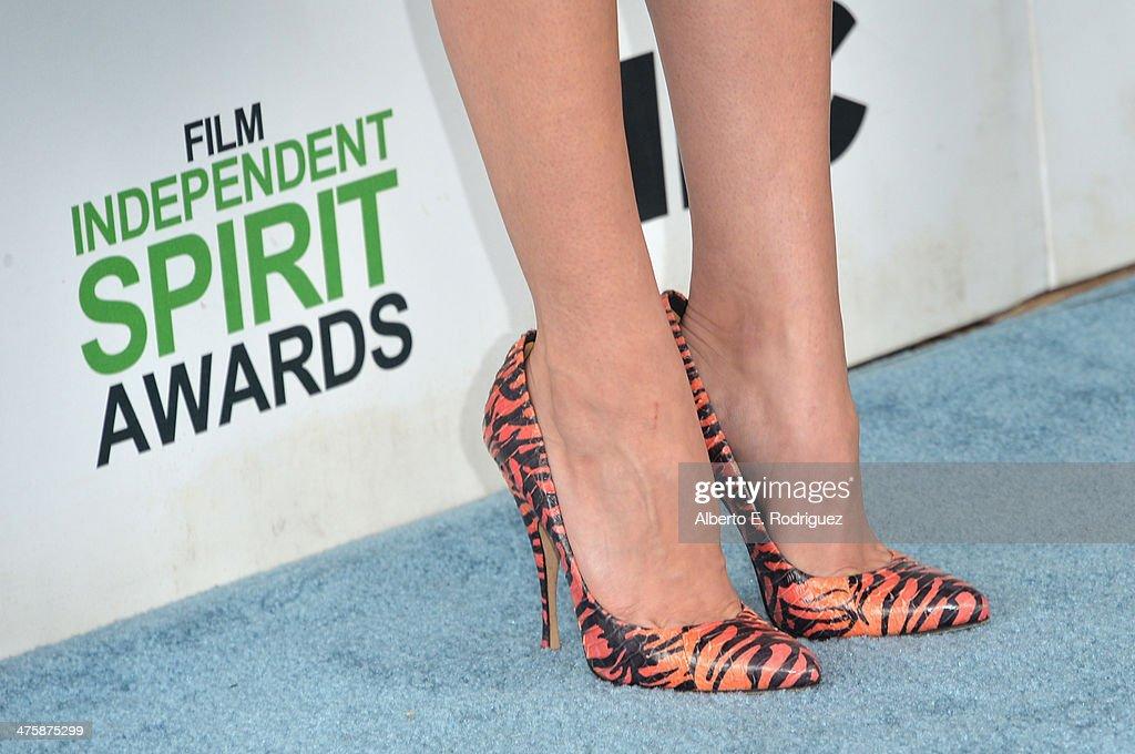 Aubrey Plaza (detail) attends the 2014 Film Independent Spirit Awards at Santa Monica Beach on March 1, 2014 in Santa Monica, California.