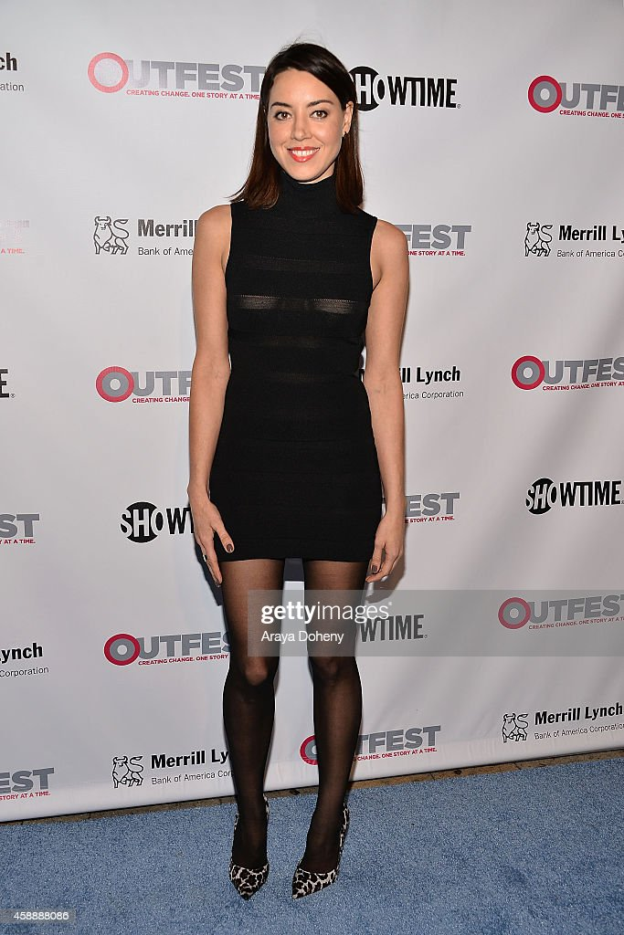 Aubrey Plaza attends the 2014 Outfest Legacy Awards at Vibiana on November 12 2014 in Los Angeles California