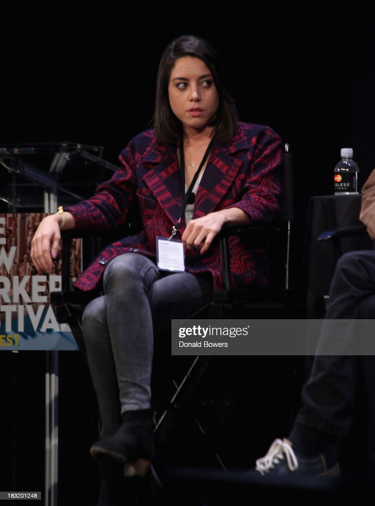 <a gi-track='captionPersonalityLinkClicked' href=/galleries/search?phrase=Aubrey+Plaza&family=editorial&specificpeople=5299268 ng-click='$event.stopPropagation()'>Aubrey Plaza</a> attends The New Yorker Festival 2013 - An Evening With Funny Or Die Hosted By Billy Eichner at Acura at SIR Stage37 on October 5, 2013 in New York City.
