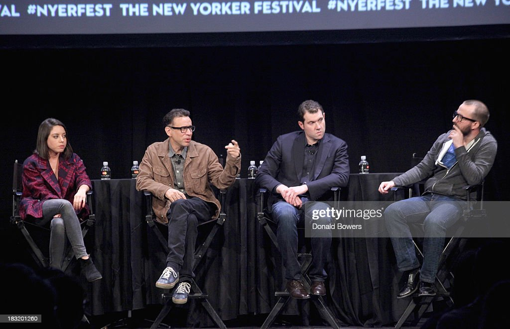 Aubrey Plaza, Fred Armisen, Billy Eichner and John Ramsey attend The New Yorker Festival 2013 - An Evening With Funny Or Die Hosted By Billy Eichner at Acura at SIR Stage37 on October 5, 2013 in New York City.