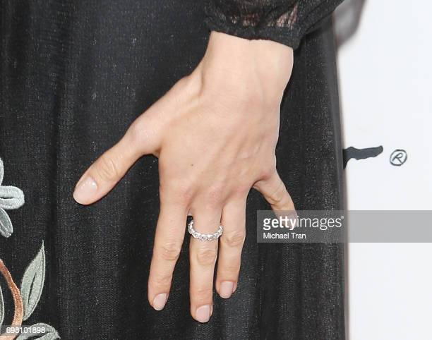 Aubrey Plaza nail polish and ring detail arrives at the 2017 Los Angeles Film Festival screening of 'The Little Hours' held at Arclight Cinemas...