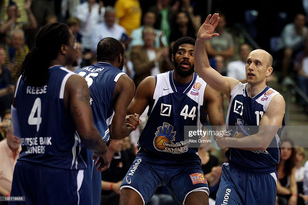 Aubrey Reese, Derrick Allen, Greg Jenkins and Pascal Roller (L-R) of Frankfurt celebrate during game four of the Beko Basketball Bundesliga play off finals between Deutsche Bank Skyliners and Eisbaeren Bremerhaven at the Ballsporthalle on June 15, 2010 in Frankfurt am Main, Germany.