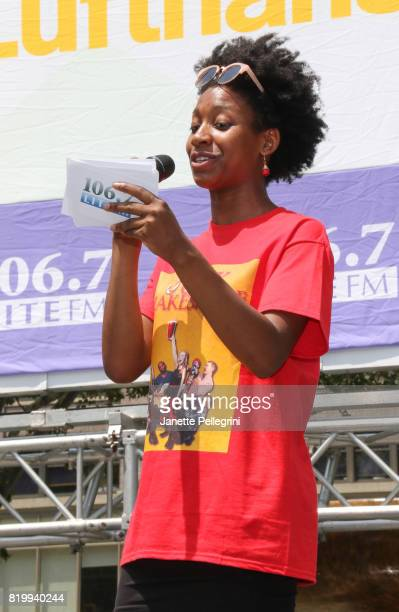 Aubrey Taylor from the cast of Junk Shakespeare attends 1067 Lite FM's Broadway In Bryant Park on July 20 2017 in New York City