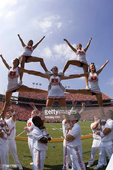 Auburn Tiger cheerleaders perform during a game against the LSU Tigers on September 16 2006 at JordanHare Stadium in Auburn Alabama The Auburn Tigers...