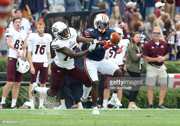 Auburn Tigers defensive back Stephen Roberts breaks up a pass intended for Louisiana Monroe Warhawks wide receiver Xavier Brown during a football...