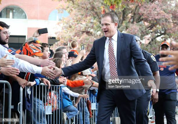 Auburn Tigers head coach Gus Malzahn greets his fans during a football game between the Auburn Tigers and the LouisianaMonroe Warhawks Saturday...