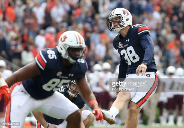 Auburn Tigers place kicker Daniel Carlson kicks an extra point during a football game between the Auburn Tigers and the LouisianaMonroe Warhawks...