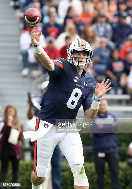 Auburn Tigers quarterback Jarrett Stidham drops back to pass during a football game between the Auburn Tigers and the LouisianaMonroe Warhawks...