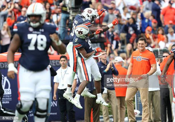 Auburn Tigers running backs Kam Martin and Kerryon Johnson celebrate a touchdown during a football game between the Auburn Tigers and the...