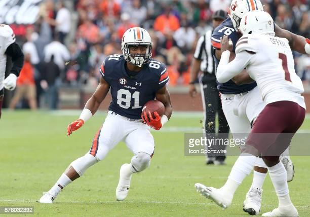 Auburn Tigers wide receiver Darius Slayton runs the ball during a football game between the Auburn Tigers and the LouisianaMonroe Warhawks Saturday...