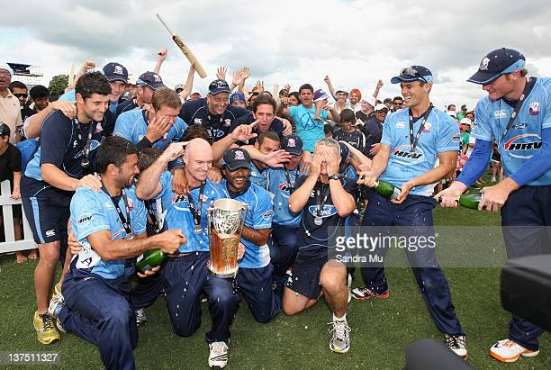 Auckland Aces celebrate winning the HRV Cup match between the Auckland Aces and Canterbury Wizards at Colin Maiden Park on January 22 2012 in...