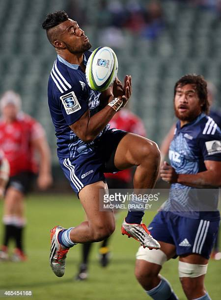 Auckland Blues Frank Halai drops the high ball during the Super 15 rugby match between the Auckland Blues and Emirates Lions at Albany Stadium in...