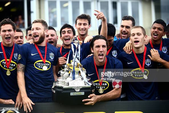 Auckland captain Ivan Vicelich celebrates with the ASB Premiership Trophy following the ASB Premiership match between Auckland and Wellington at...