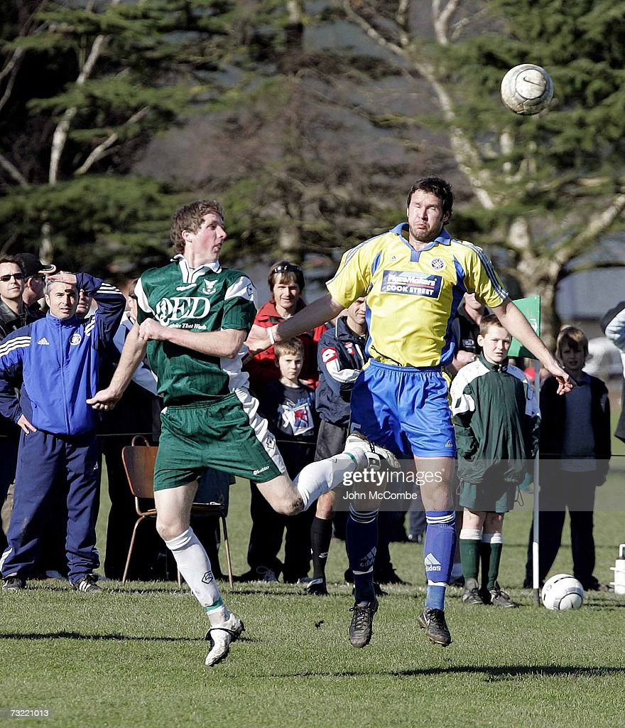 Auckland Central United's Dean Tallentire and Christchurch Halswell Uniteds Jonathan Deaker in action in their Chatham Cup Semi Final in Christchurch...