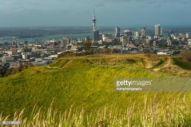 Auckland city and Mt. Eden volcano, New Zealand.