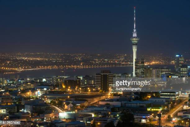 Auckland city at night, New Zealand.