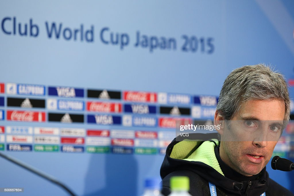 Auckland City coach Ramon Tribulietx attends a press conference ahead of the FIFA Club World Cup Japan 2015 at International Stadium Yokohama on December 9, 2015 in Yokohama, Japan.