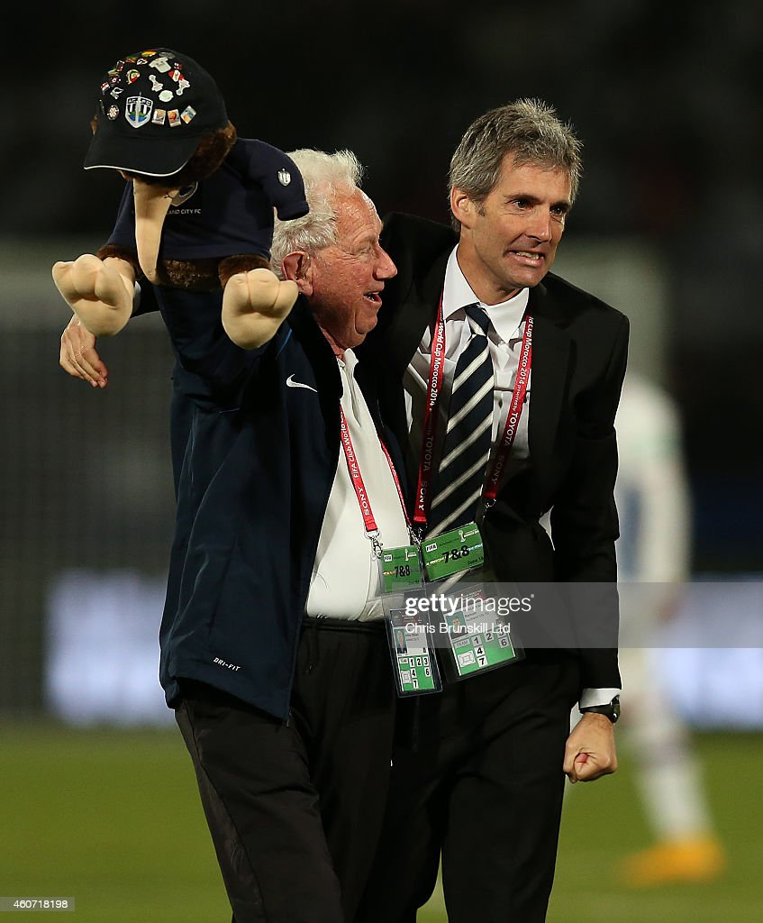 Auckland City coach <a gi-track='captionPersonalityLinkClicked' href=/galleries/search?phrase=Ramon+Tribulietx&family=editorial&specificpeople=8703160 ng-click='$event.stopPropagation()'>Ramon Tribulietx</a> (R) celebrates with a member of his staff after winning the penalty shoot out during the FIFA Club World Cup 3rd Place match between Cruz Azul FC and Auckland City FC at Marrakech Stadium on December 20, 2014 in Marrakech, Morocco.