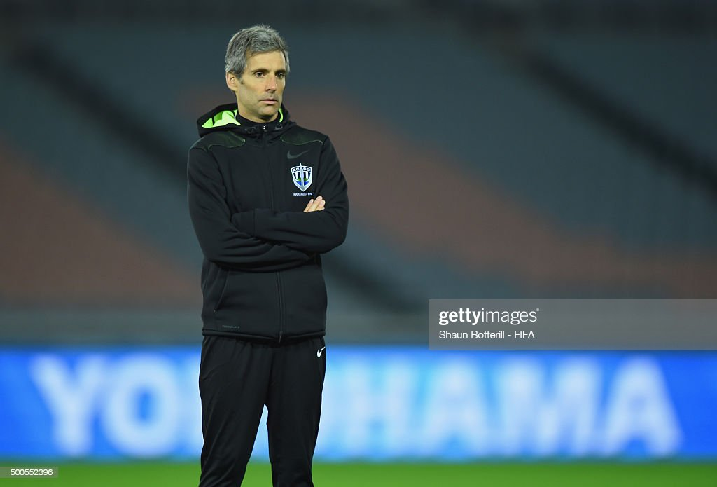 Auckland City coach <a gi-track='captionPersonalityLinkClicked' href=/galleries/search?phrase=Ramon+Tribulietx&family=editorial&specificpeople=8703160 ng-click='$event.stopPropagation()'>Ramon Tribulietx</a> during a training session at International Stadium Yokohama on December 9, 2015 in Yokohama, Japan.