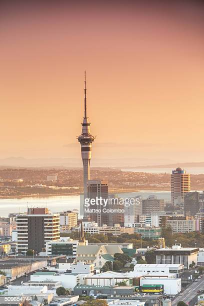 Auckland city elevated viw at sunrise, New Zealand