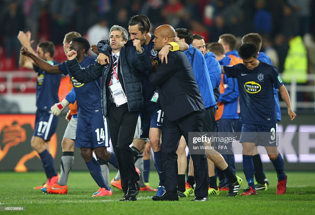Auckland City FC players coach Ramon Tribulietx celebrates after the FIFA Club World Cup Play-Off for the Quarter Final match between Moghreb Athletic Tetouan and Auckland City FC at Prince Moulay Abdellah on December 10, 2014 in Rabat, Morocco.