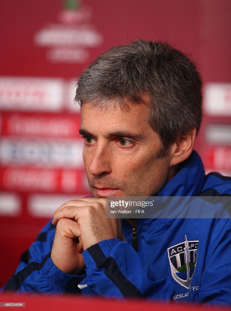 Auckland City FC players coach <a gi-track='captionPersonalityLinkClicked' href=/galleries/search?phrase=Ramon+Tribulietx&family=editorial&specificpeople=8703160 ng-click='$event.stopPropagation()'>Ramon Tribulietx</a> during a press Conference prior to the match on Wednesday against Moghreb Athletic de Tetoun at Complexe Sportif Moulay Abdellah on December 9, 2014 in Rabat, Morocco.