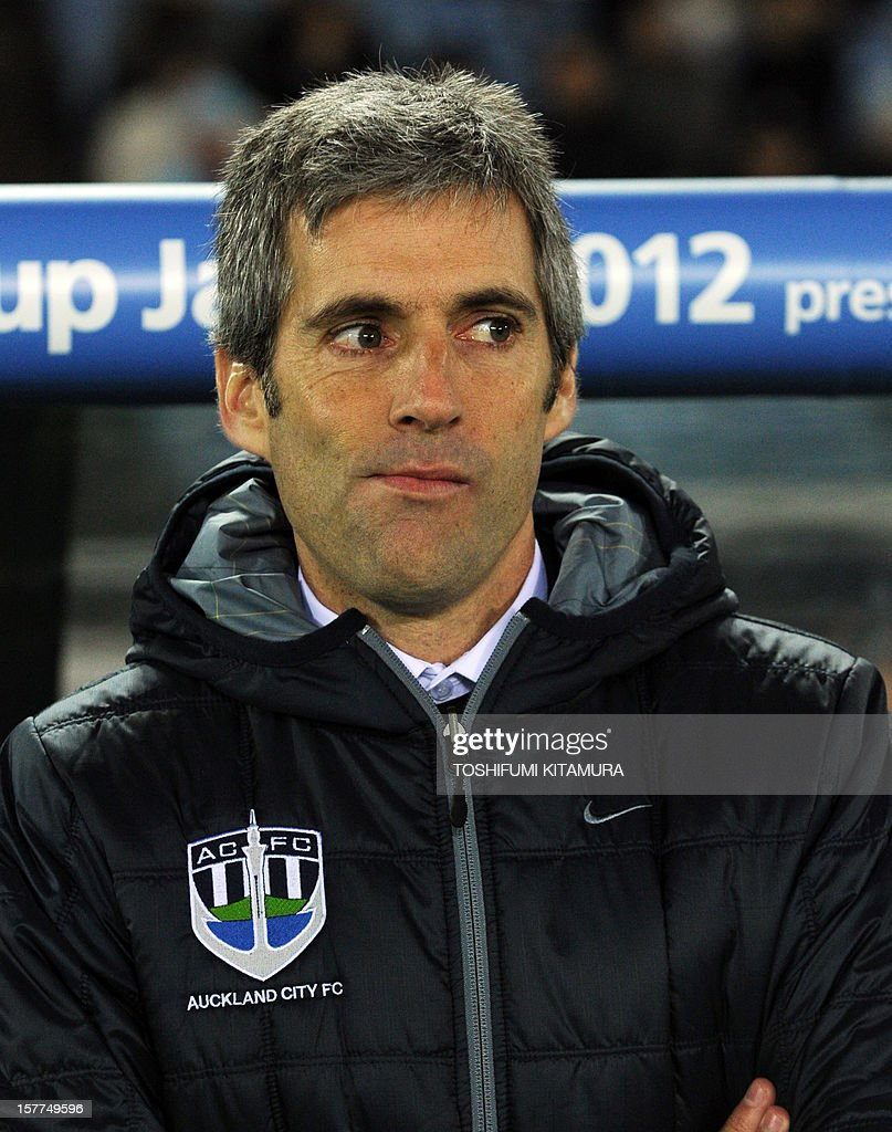 Auckland City head coach Ramon Tribulietx looks at a photo session prior to their FIFA Club World Cup 2012 M1 match against Sanfrecce Hiroshima in Yokohama on December 6, 2012. Sanfrecce beat Auckland by 1-0.
