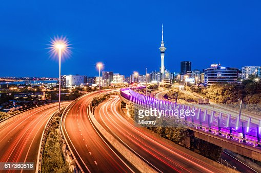 Auckland City Sky Tower Highway Traffic at Night New Zealand