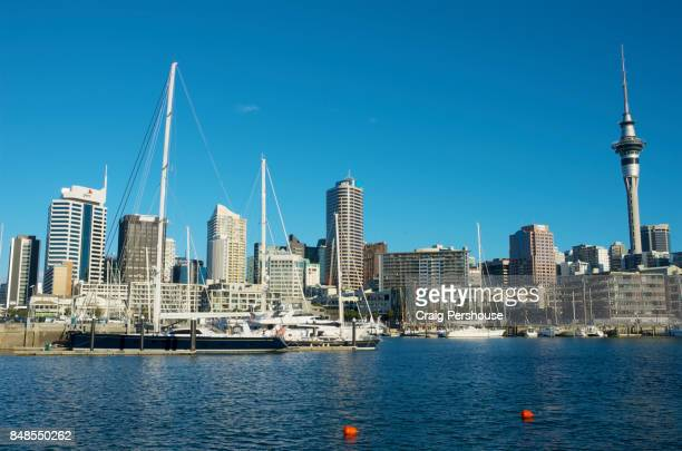 Auckland city skyline behind Viaduct Harbour.