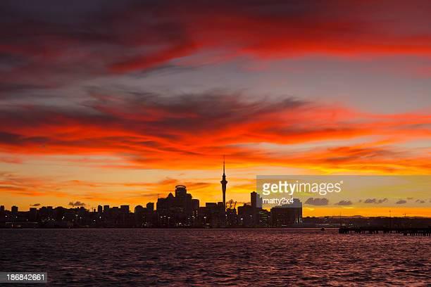 Stadt Auckland Sonnenuntergang