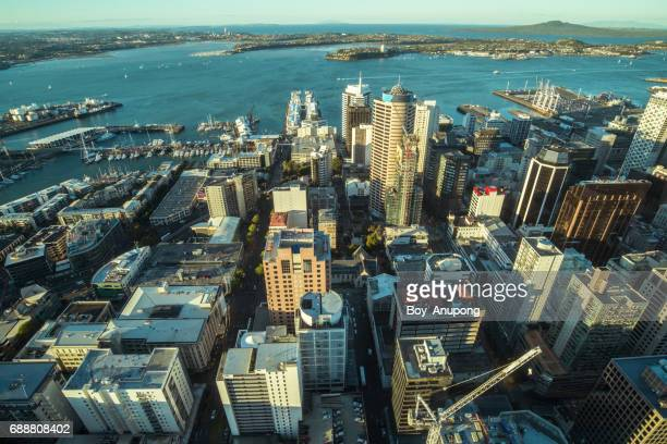 Auckland cityscape view from Auckland Sky Tower of New Zealand.