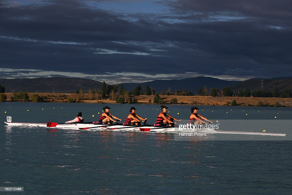 Auckland compete in the Women's Novice 4X semifinal during day three of the New Zealand Rowing Championships at Lake Ruataniwha on February 21, 2013 in Wellington, New Zealand.