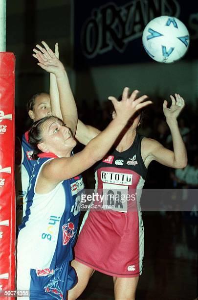 Auckland Diamond's Moana Clark looks for the loose ball with Rangitoto Force Tania Dalton in their CocaCola Netball match played at the Unitec...