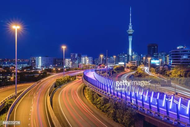 Auckland Light Path City Highway Traffic at Night New Zealand