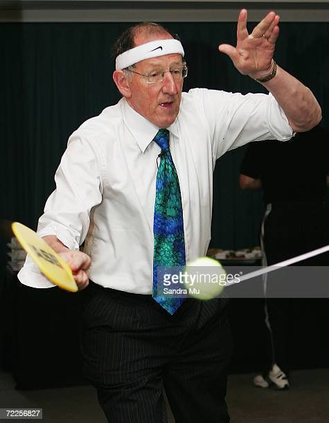 Auckland Mayor Dick Hubbard prepares to hit the ball during the ASB SwingBall Classic launch at the ASB Tennis Centre October 25 2006 in Auckland New...