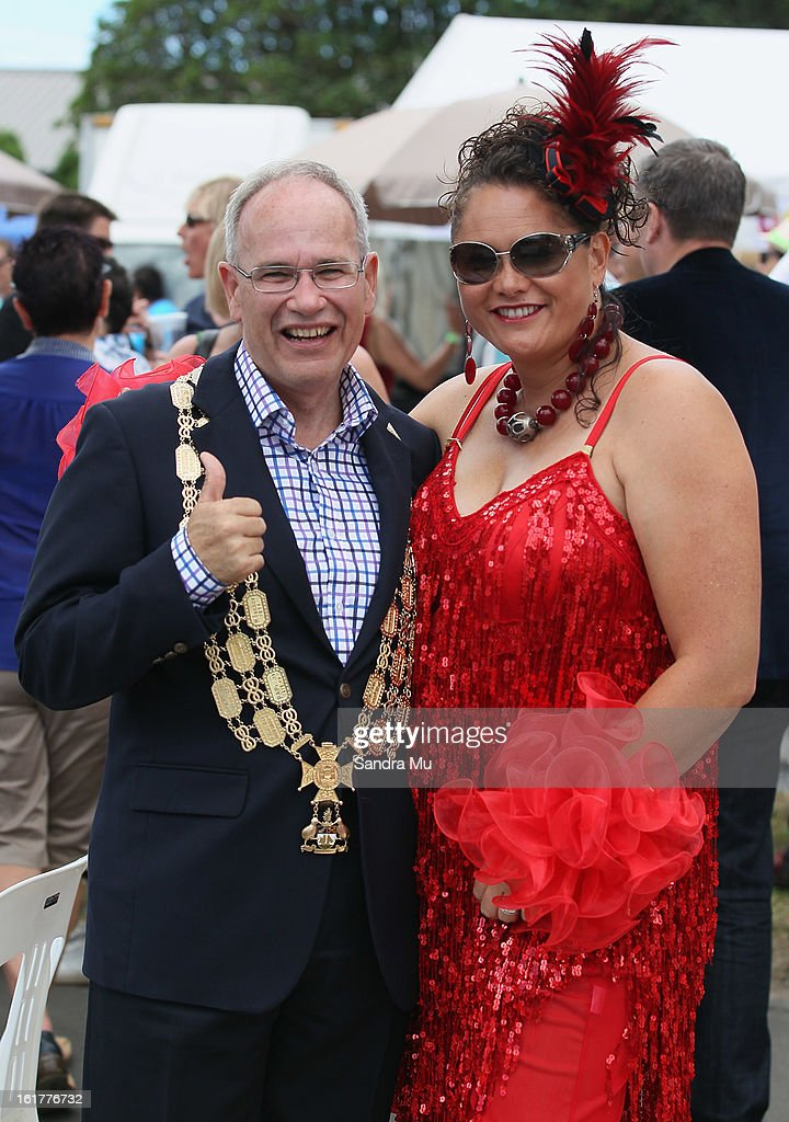 Auckland Mayor Len Brown (L) and Labour MP Louisa Wall pose for a photo during the Pride parade on February 16, 2013 in Auckland, New Zealand. The gay parade, celebrating lesbian, gay, bisexual and transgender (LGBT) culture has returned to Ponsonby Road after 10 years and organisers plan to put the parade on the tourism map, in the style of the Sydney Mardi Gras.