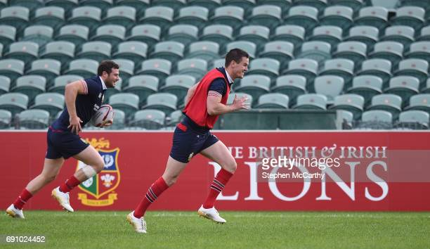 Auckland New Zealand 1 June 2017 Jonathan Sexton and Robbie Henshaw left of the British and Irish Lions during a training session at the QBE Stadium...