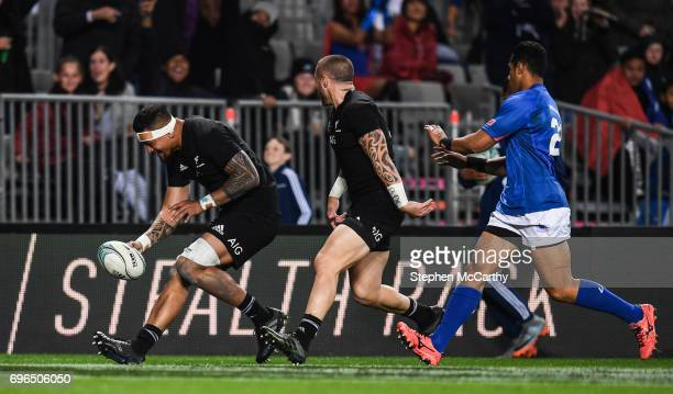 Auckland New Zealand 16 June 2017 Vaea Fifita of New Zealand goes over to score his side's ninth try during the International Test match between the...