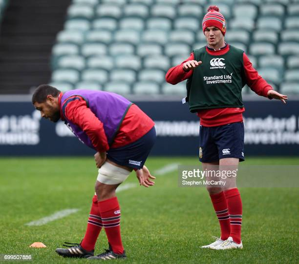 Auckland New Zealand 22 June 2017 Jonathan Sexton right and Taulupe Faletau during a British and Irish Lions training session at QBE Stadium in...