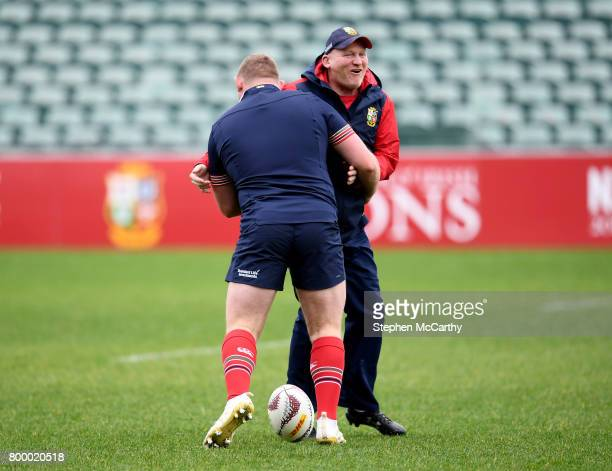 Auckland New Zealand 23 June 2017 British Irish Lions kicking coach Neil Jenkins with Tadhg Furlong during their captain's run at QBE Stadium in...