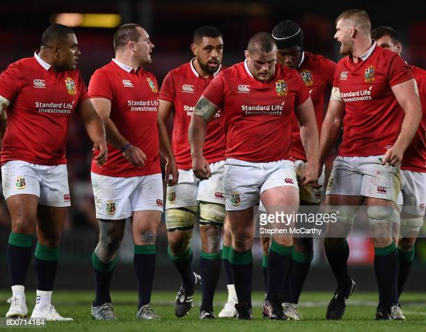 Auckland New Zealand 24 June 2017 British and Irish Lions players from left Kyle Sinckler Ken Owens Taulupe Faletau Jack McGrath Maro Itoje and...